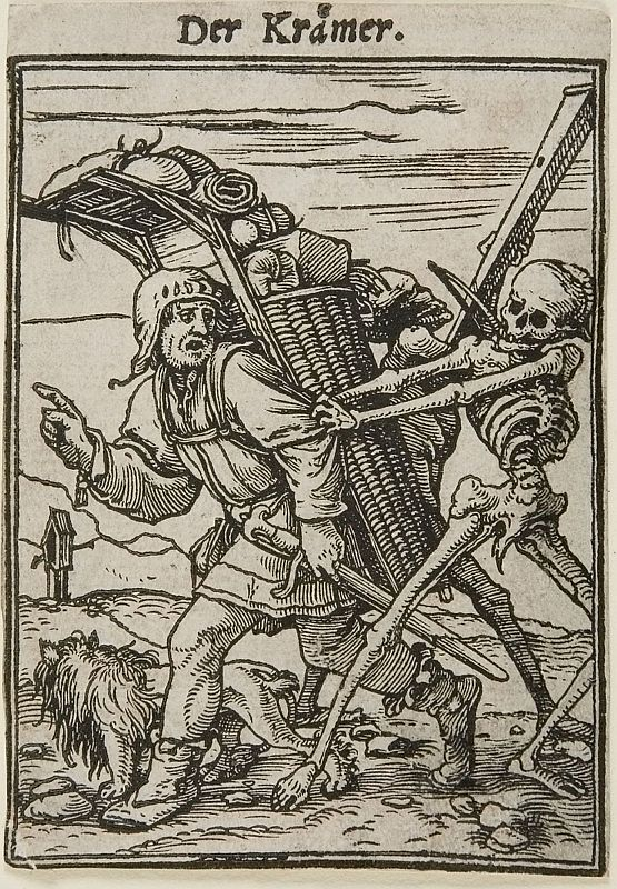 The peddler refuses to follow death. From Holbein's Dance of Death.