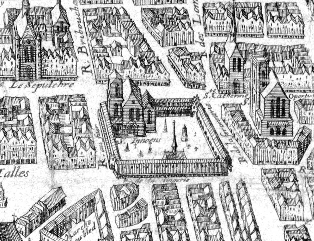 Matthew Merian's map of Paris from 1615 with a bird's-eye view of the city.  This section shows the St. Innocents' cemetery. There's a larger version  here: ...