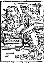 Death riding a lion