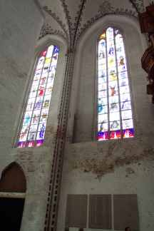 Stained-glass windows in the chapel of the dance of death